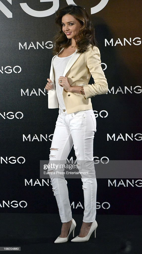 Model <a gi-track='captionPersonalityLinkClicked' href=/galleries/search?phrase=Miranda+Kerr&family=editorial&specificpeople=5714330 ng-click='$event.stopPropagation()'>Miranda Kerr</a> is presented as the new face of Mango at the Villamagna Hotel on December 11, 2012 in Madrid, Spain.