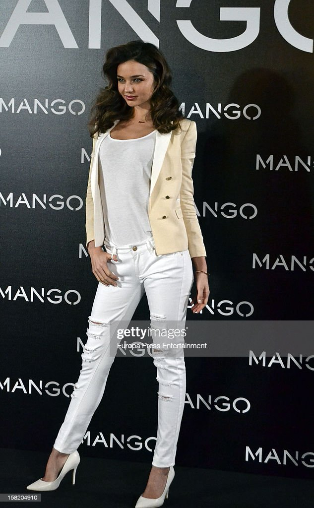 Model Miranda Kerr is presented as the new face of Mango at the Villamagna Hotel on December 11, 2012 in Madrid, Spain.