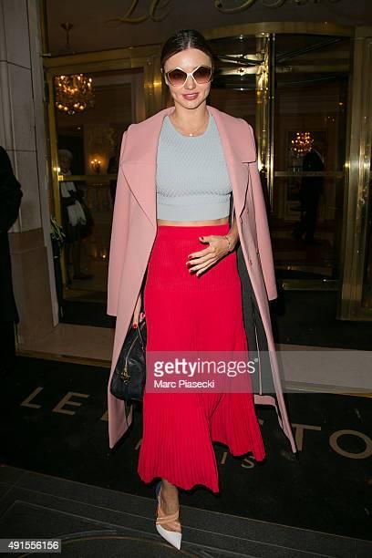 Model Miranda Kerr is seen leaving the 'Bristol' hotel on October 6 2015 in Paris France