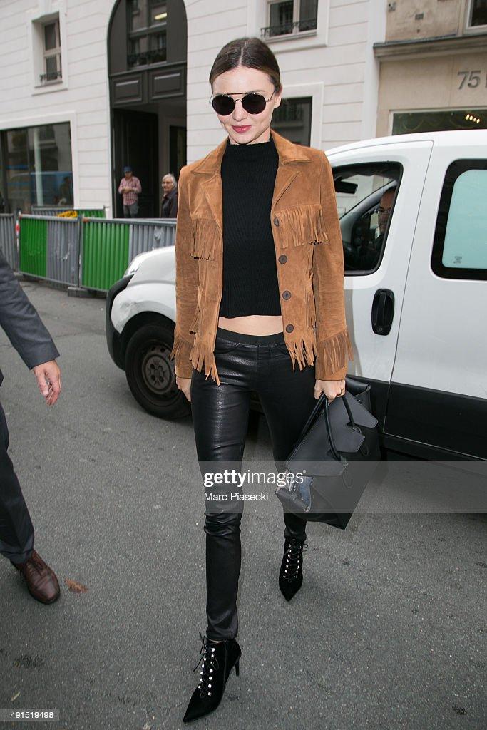 Model Miranda Kerr is seen on October 6 2015 in Paris France