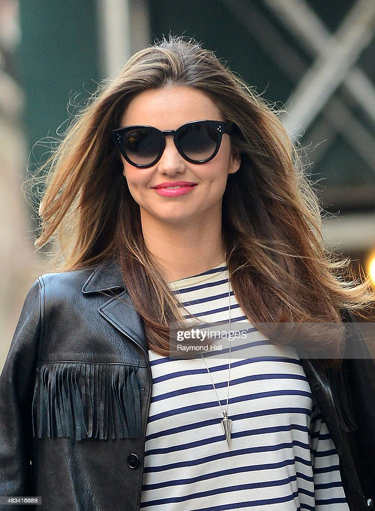 Model Miranda Kerr is seen on the set of a photoshoot on April 8, 2014 in New York City.
