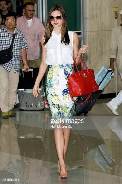Model Miranda Kerr is seen upon arrival at Gimpo International Airport on September 10 2012 in Seoul South Korea