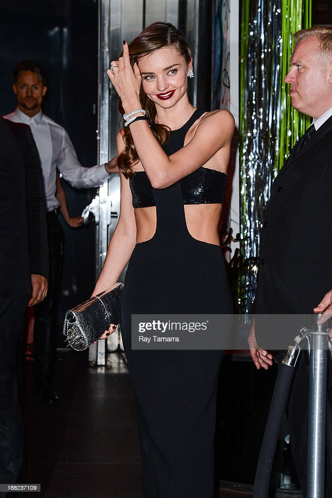 Model Miranda Kerr leaves the 'PUNK: Chaos To Couture' Costume Institute Gala after party at the Standard Hotel on May 6, 2013 in New York City.