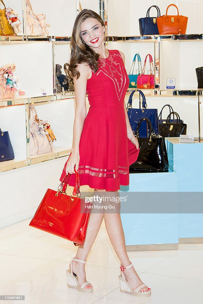 Model <a gi-track='captionPersonalityLinkClicked' href=/galleries/search?phrase=Miranda+Kerr&family=editorial&specificpeople=5714330 ng-click='$event.stopPropagation()'>Miranda Kerr</a> poses for media during a promotional event for the 'Samantha Thavasa' at Lotte Departmemt Store on June 12, 2013 in Seoul, South Korea.
