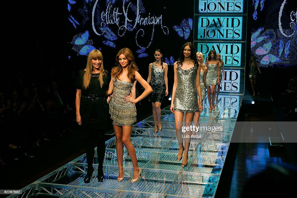 Model Miranda Kerr poses with fashion designer Collette Dinnigan on the catwalk during 'Summer in the City' the David Jones Summer 2008 Collections...