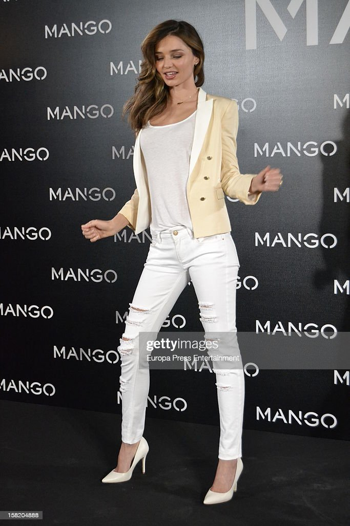 Model Miranda Kerr presented as the new face of Mango at the Villamagna Hotel on December 11, 2012 in Madrid, Spain.