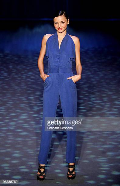 Model Miranda Kerr showcases designs by Bianca Spender on the catwalk during the David Jones Autumn/Winter 2010 Fashion Launch at the Hordern...