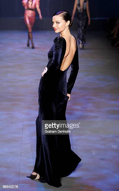 Model Miranda Kerr showcases designs by Carla Zampatti on the catwalk during the David Jones Autumn/Winter 2010 Fashion Launch at the Hordern...