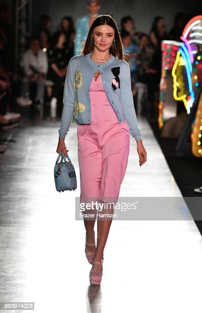 Model Miranda Kerr walks the runway at Moschino Spring/Summer 18 Menswear and Women's Resort Collection at Milk Studios on June 8 2017 in Hollywood...