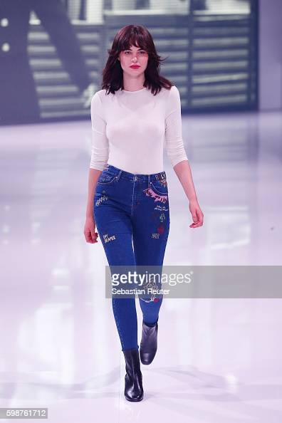 Model Misha Hart walks the runway at the Topshop fashion show during the Bread Butter by Zalando at arena Berlin on September 2 2016 in Berlin Germany