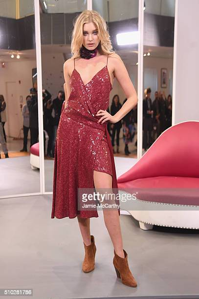 Model Model Elsa Hosk poses wearing Diane Von Furstenberg Fall 2016 show during New York Fashion Week on February 14 2016 in New York City