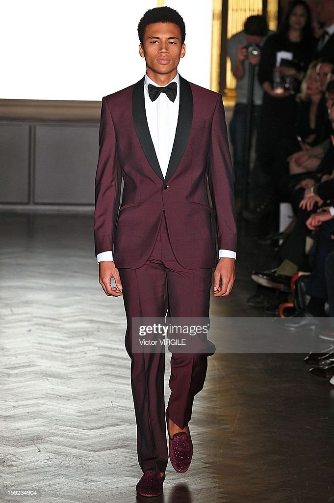 Model model Henry Pedro-Wright walks the catwalk during the Richard James Ready to wear Fall/Winter 2013-2014 show at the London Collections: MEN AW13 at Cafe Royal on January 8, 2013 in London, England.