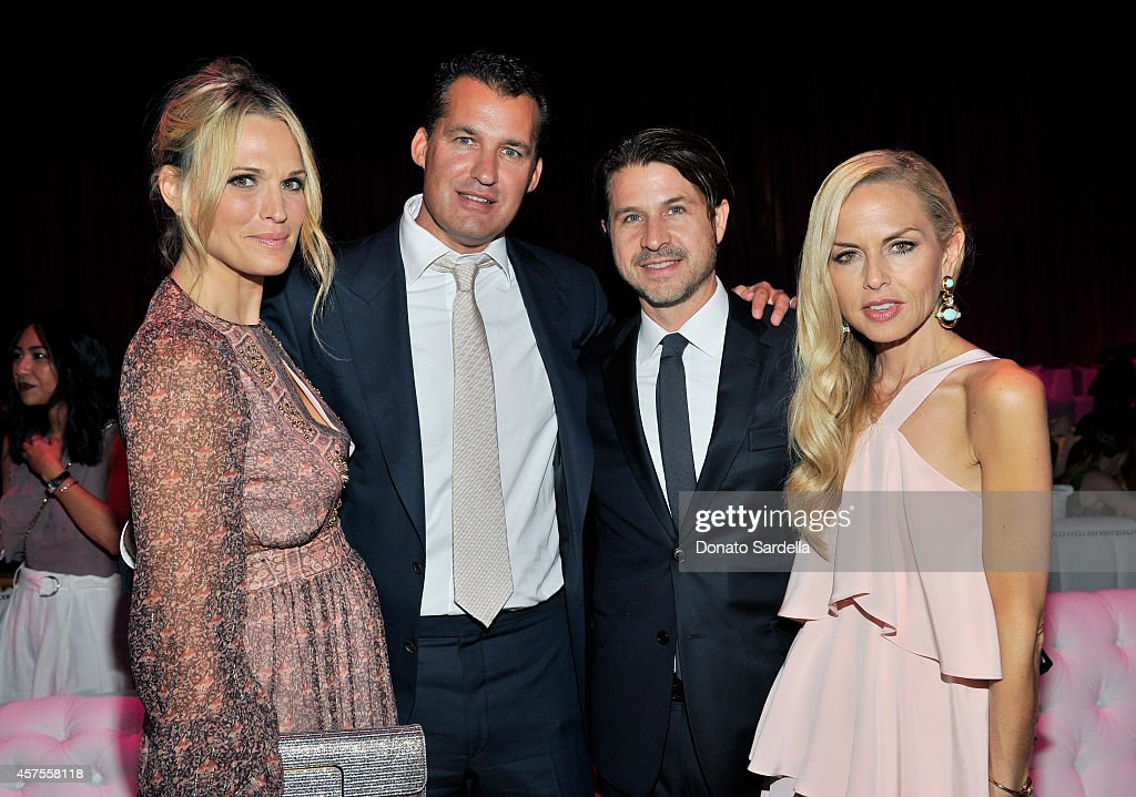 Model Molly Sims producer Scott Stuber actor Rodger Berman and designer Rachel Zoe attend Elyse Walker presents the 10th anniversary Pink Party...