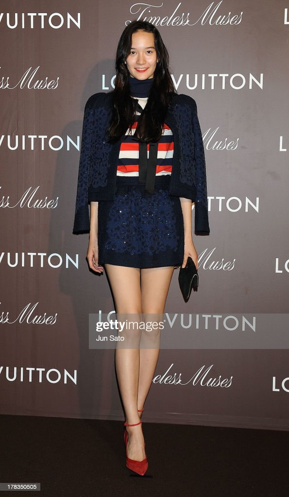 Model Mona Matsuoka attends Louis Vuitton 'Timeless Muses' exhibition at the Tokyo Station Hotel on August 29, 2013 in Tokyo, Japan.