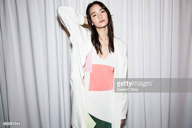 Model Mona Matsuoka backstage at the Tibi SS16 show part of New York Fashion Week Spring/Summer 2016 on September 12 2015 in New York City