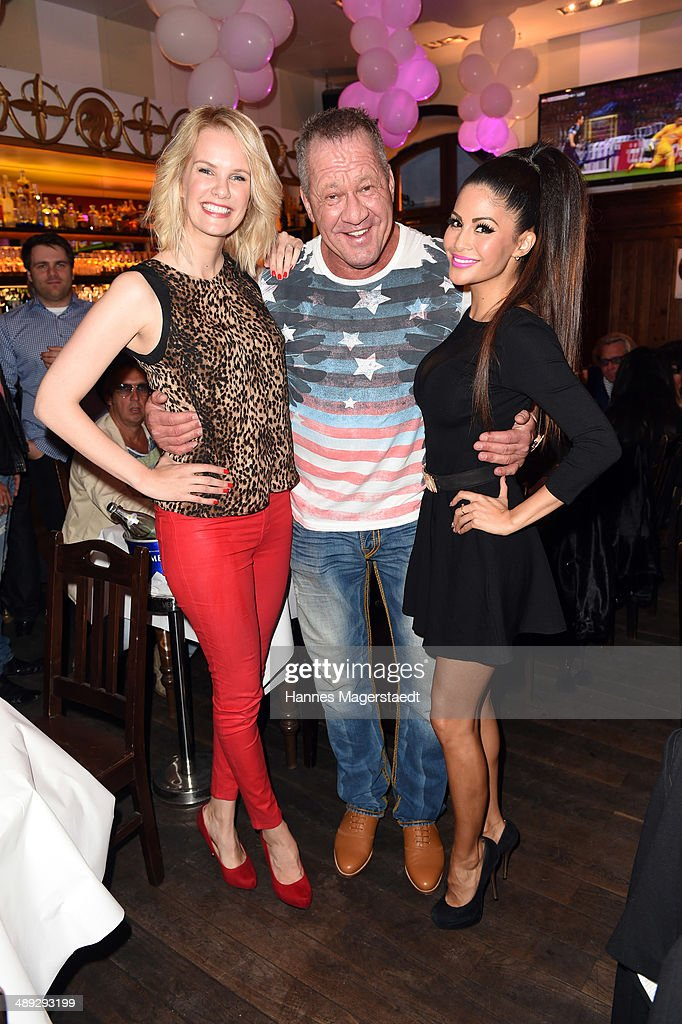Model Monika Ivancan, Hugo Bachmaier and Playmate <a gi-track='captionPersonalityLinkClicked' href=/galleries/search?phrase=Mia+Gray&family=editorial&specificpeople=6704187 ng-click='$event.stopPropagation()'>Mia Gray</a> attend 9 Years Anniversary Bachmaier Hofbraeu at Bachmaier Hofbraeu on May 10, 2014 in Munich, Germany.