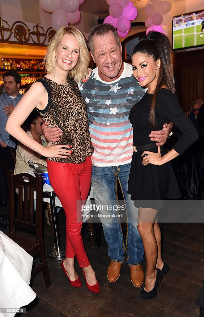 Model Monika Ivancan, Hugo Bachmaier and Playmate Mia Gray attend 9 Years Anniversary Bachmaier Hofbraeu at Bachmaier Hofbraeu on May 10, 2014 in Munich, Germany.