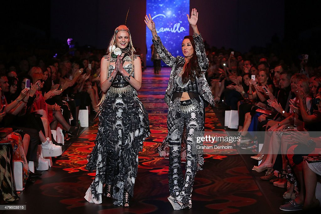 Model Montana Cox (L) and Designer <a gi-track='captionPersonalityLinkClicked' href=/galleries/search?phrase=Camilla+Franks+-+Fashion+Designer&family=editorial&specificpeople=7165883 ng-click='$event.stopPropagation()'>Camilla Franks</a> walk the runway following the Camilla show as part of 2014 Virgin Australia Melbourne Fashion Festival at Docklands on March 19, 2014 in Melbourne, Australia.