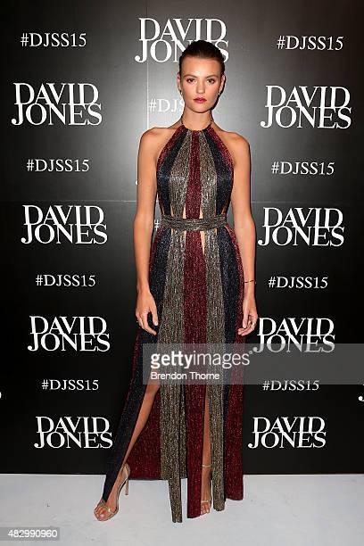 Model Montana Cox arrives ahead of the David Jones Spring/Summer 2015 Fashion Launch at David Jones Elizabeth Street Store on August 5 2015 in Sydney...