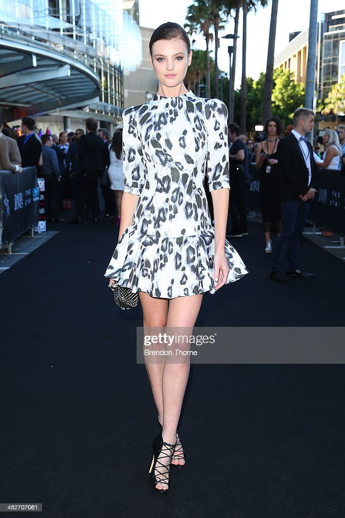 Model Montana Cox arrives at the 27th Annual ARIA Awards 2013 at the Star on December 1, 2013 in Sydney, Australia.