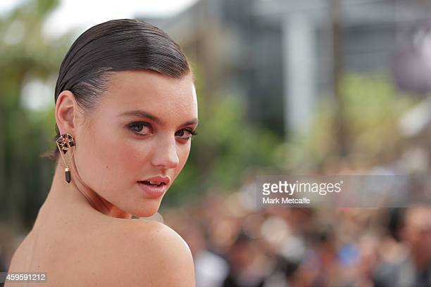 Model Montana Cox arrives at the 28th Annual ARIA Awards 2014 at the Star on November 26 2014 in Sydney Australia