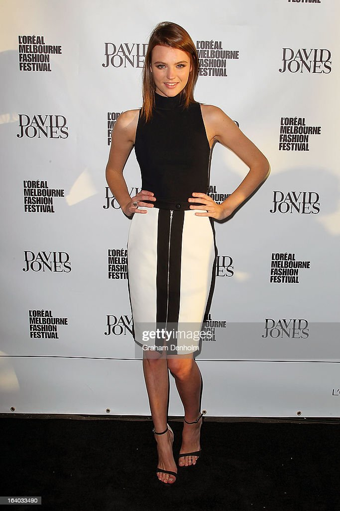Model Montana Cox poses as she arrives for the L'Oreal Melbourne Fashion Festival Opening Event presented by David Jones at Docklands on March 19, 2013 in Melbourne, Australia.