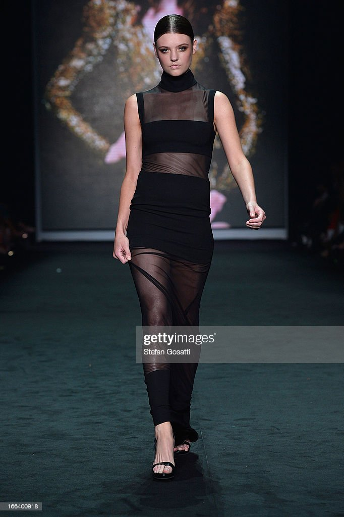 Model Montana Cox showcases designs by Carla Zampatti on the runway at the Hello Elle Australia show during Mercedes-Benz Fashion Week Australia Spring/Summer 2013/14 at Carriageworks on April 12, 2013 in Sydney, Australia.