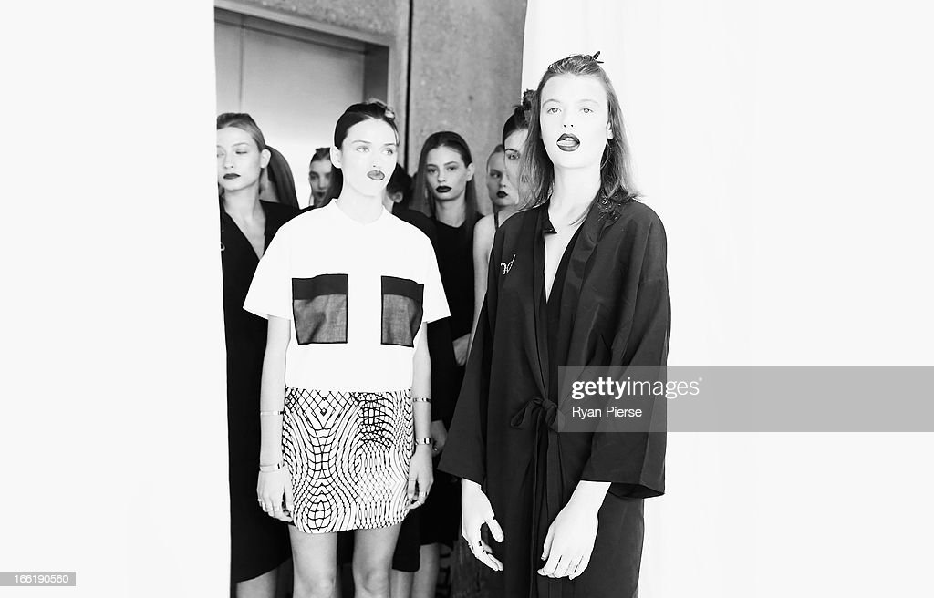 Model Montana Cox waits backstage for the Lisa Ho show during Mercedes-Benz Fashion Week Australia Spring/Summer 2013/14 at Art Gallery NSW on April 10, 2013 in Sydney, Australia.