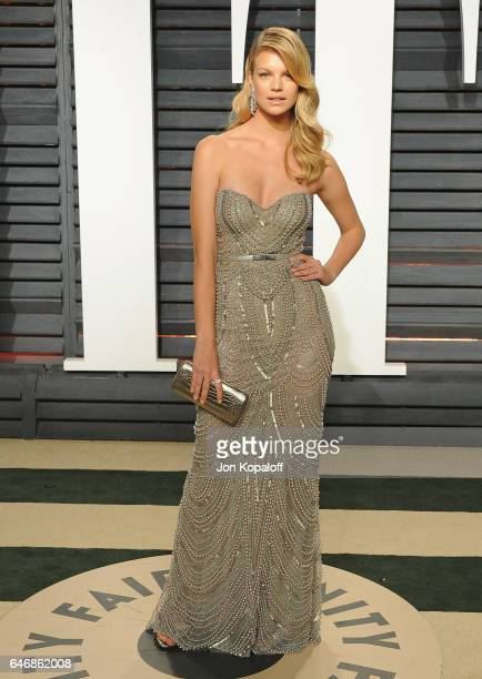 Model Nadine Leopold arrives at the 2017 Vanity Fair Oscar Party Hosted By Graydon Carter at Wallis Annenberg Center for the Performing Arts on...