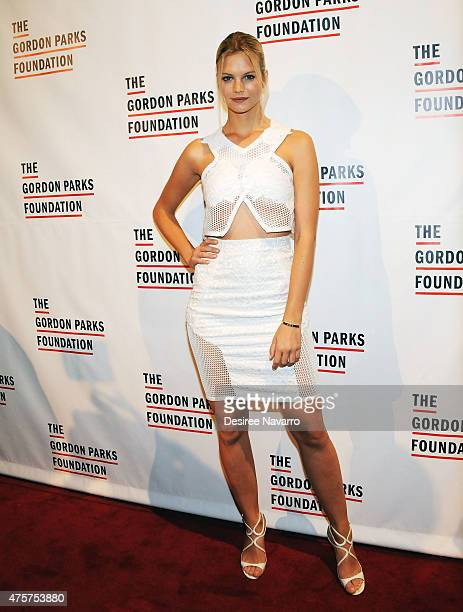 Model Nadine Leopold attends 2015 Gordon Parks Foundation Awards Dinner and Auction at Cipriani Wall Street on June 2 2015 in New York City