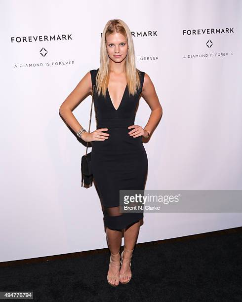 Model Nadine Leopold attends the New York premiere of 'The One' held at Stephen Weiss Studio on October 28 2015 in New York City