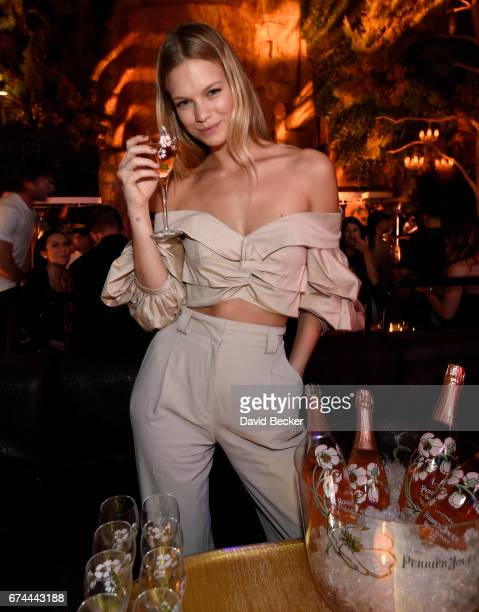 Model Nadine Leopold celebrates Intrigue Nightclub's OneYear Anniversary party hosted by PerrierJouet at Wynn Las Vegas on April 28 2017 in Las Vegas...