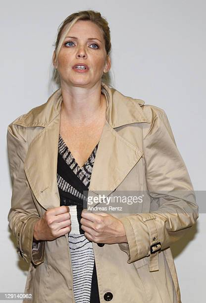 Model Nadja Auermann arrives for another day in court to face charges of income tax evasion at the Amtsgericht Tiergarten on October 13 2011 in...