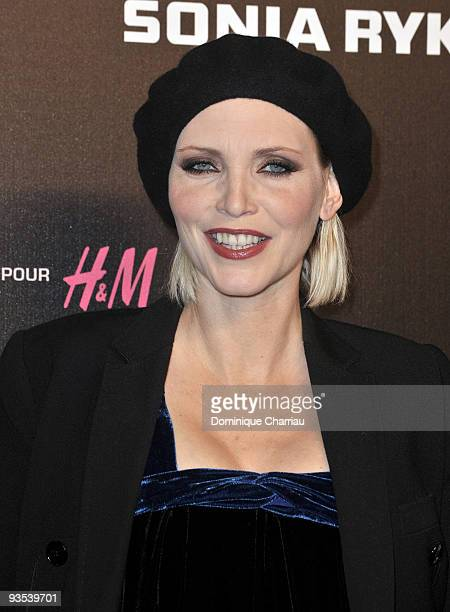 Model Nadja Auermann attends Sonia Rykiel and HM underwear collection launch at Grand Palais on December 1 2009 in Paris France