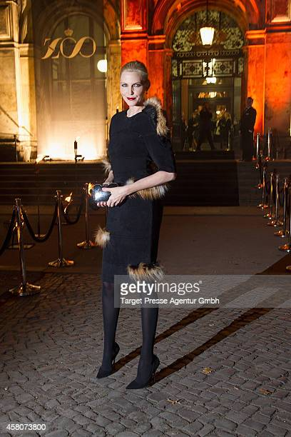 Model Nadja Auermann attends the 10th anniversary celebration of the Zoo Magazine at Naturkundemuseum on October 29 2014 in Berlin Germany