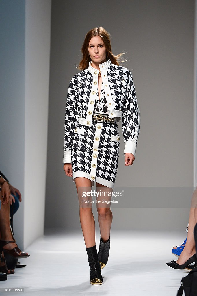 Model Nadja Bender walks the runway during Balmain show as part of the Paris Fashion Week Womenswear Spring/Summer 2013 at Grand Hotel Intercontinental on September 26, 2013 in Paris, France.