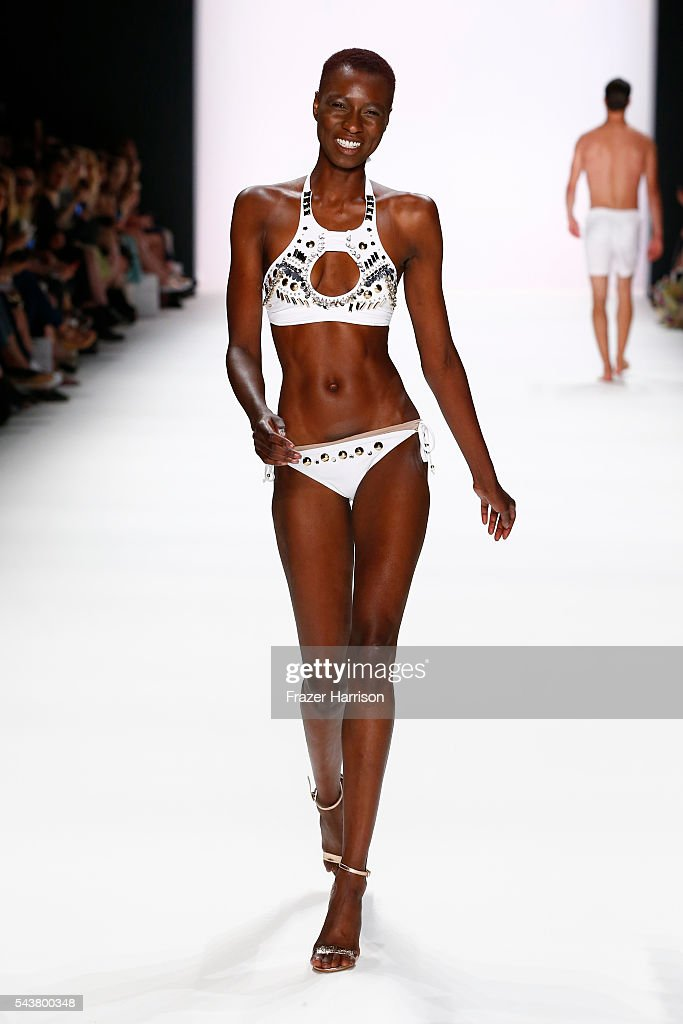 Model Nala D walks the runway at the Dimitri show during the Mercedes-Benz Fashion Week Berlin Spring/Summer 2017 at Erika Hess Eisstadion on June 30, 2016 in Berlin, Germany.