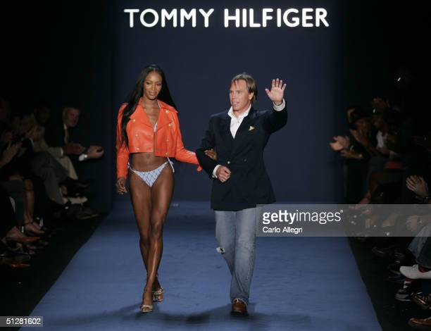 Model Naomi Campbell and designer Tommy Hilfiger walk down the runway at the Tommy Hilfiger show during Olympus Fashion Week Spring 2005 in Bryant...