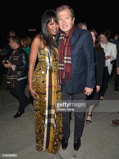 Model Naomi Campbell and photographer Mario Testino attend the Burberry 'London in Los Angeles' event at Griffith Observatory on April 16 2015 in Los...