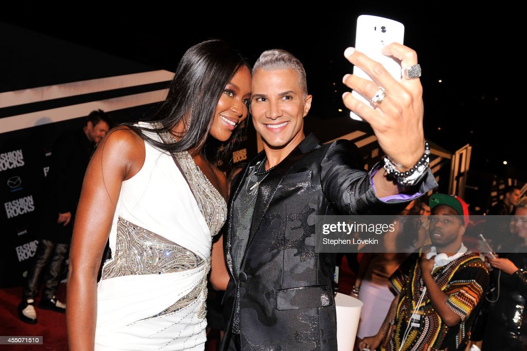 Model Naomi Campbell and TV personality Jay Manuel attend LG and Mazda at Fashion Rocks 2014 at the Barclays Center of Brooklyn on September 9 2014...