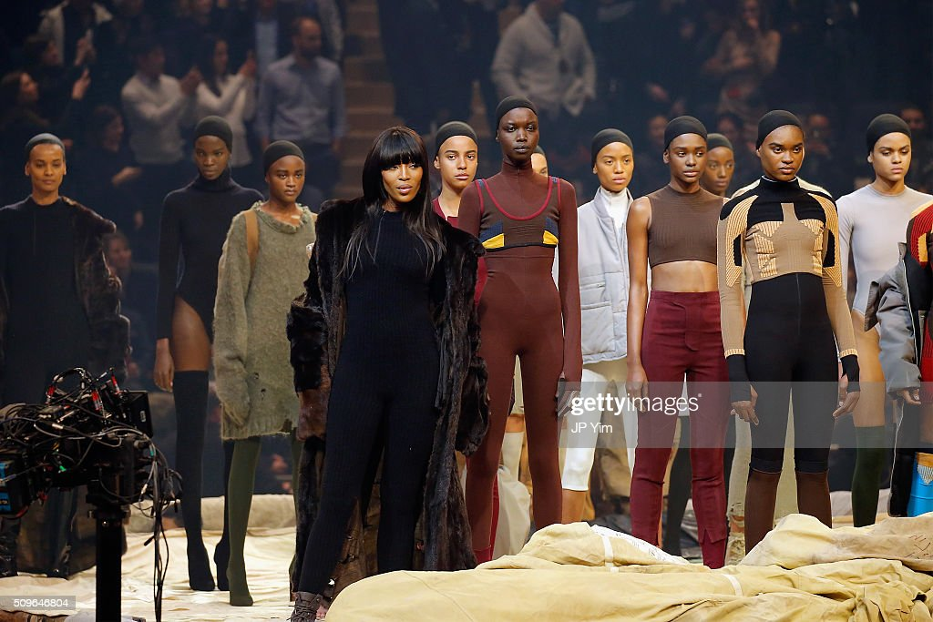 Model <a gi-track='captionPersonalityLinkClicked' href=/galleries/search?phrase=Naomi+Campbell&family=editorial&specificpeople=171722 ng-click='$event.stopPropagation()'>Naomi Campbell</a> appears onstage during Kanye West Yeezy Season 3 on February 11, 2016 in New York City.