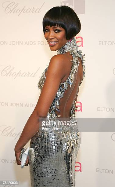 Model Naomi Campbell arrives at the 15th Annual Elton John AIDS Foundation Academy Awards viewing party held at the Pacific Design Center on February...
