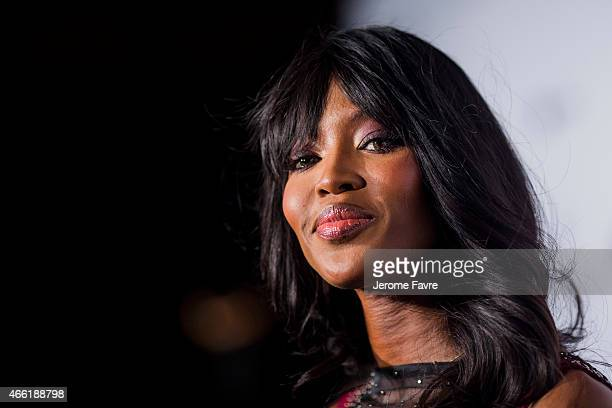 Model Naomi Campbell arrives on the red carpet during the 2015 amfAR Hong Kong gala at Shaw Studios on March 14 2015 in Hong Kong