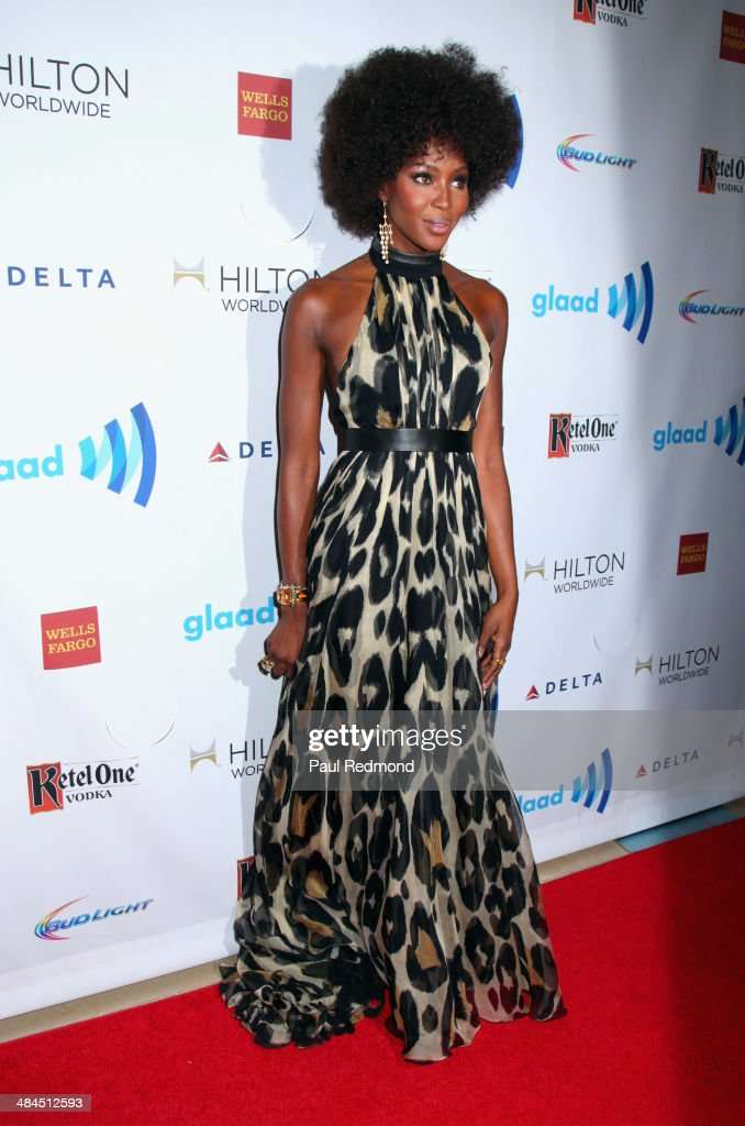 Model <a gi-track='captionPersonalityLinkClicked' href=/galleries/search?phrase=Naomi+Campbell&family=editorial&specificpeople=171722 ng-click='$event.stopPropagation()'>Naomi Campbell</a> arriving at the 25th Annual GLAAD Media Awards at The Beverly Hilton Hotel on April 12, 2014 in Beverly Hills, California.