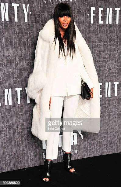 Model Naomi Campbell attends FENTY x PUMA by Rihanna at 23 Wall Street on February 12 2016 in New York City