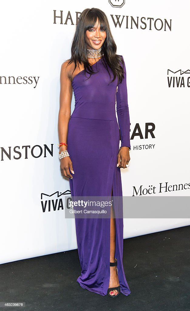 Model Naomi Campbell attends the 2015 amfAR New York Gala at Cipriani Wall Street on February 11 2015 in New York City