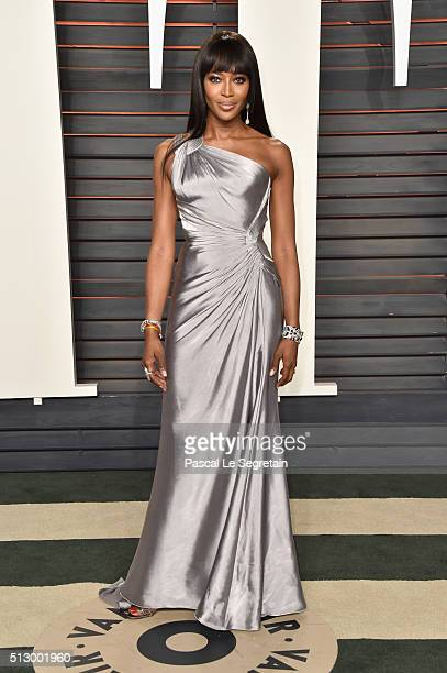 Model Naomi Campbell attends the 2016 Vanity Fair Oscar Party Hosted By Graydon Carter at the Wallis Annenberg Center for the Performing Arts on...