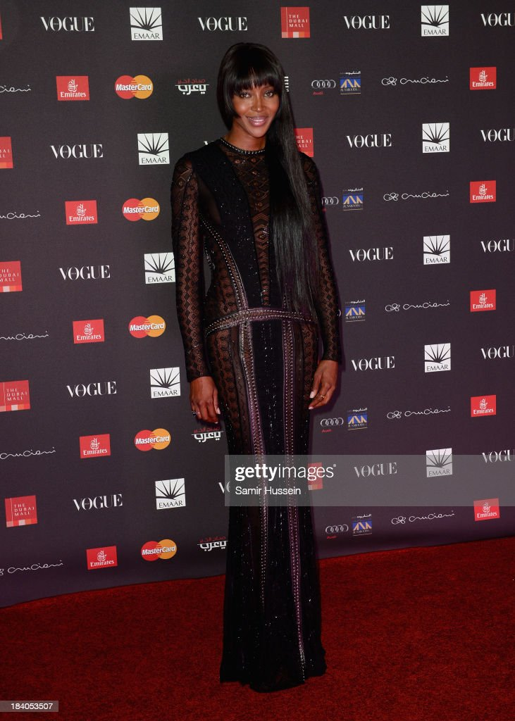 Model Naomi Campbell attends the gala dinner at the Armani Pavilion during Vogue Fashion Dubai Experience on October 10, 2013 in Dubai, United Arab Emirates.