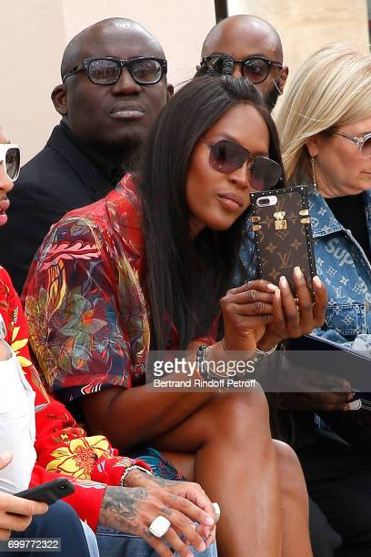 Model Naomi Campbell attends the Louis Vuitton Menswear Spring/Summer 2018 show as part of Paris Fashion Week on June 22 2017 in Paris France