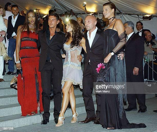 Model Naomi Campbell designer Stefano Gabbana former Spice Girl Victoria Beckham designer designer Domenico Dolce and model Linda Evangelista arrive...